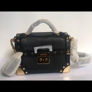 Michael Kors Small Trunk Black Leather Bag